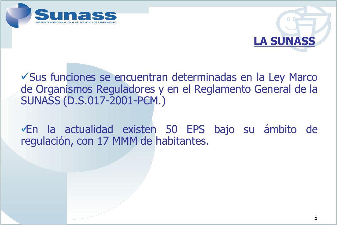 5 LA SUNASS Sus funciones se encuentran determinadas en la Ley Marco de Organismos Reguladores y en el Reglamento General de la SUNASS (D.S.017-2001-P