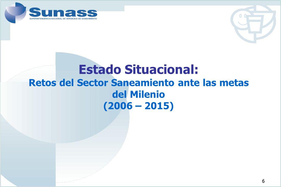 7 Déficit en la cobertura de los Servicios de Saneamiento (Agua y Alcantarillado) Fuente: EPS - SUNASS 2.8 millones (16%) no tienen acceso al servicio de agua potable de los 17.3 millones de habitantes en el ámbito de las EPS.