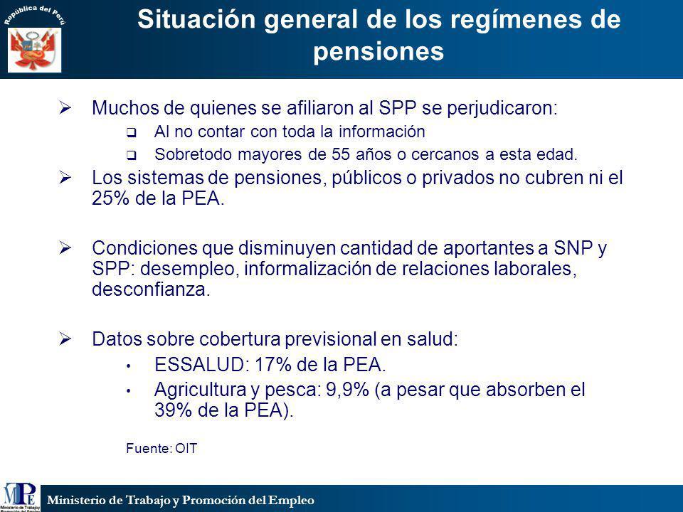 Ministerio de Trabajo y Promoción del Empleo Situación general de los regímenes de pensiones Muchos de quienes se afiliaron al SPP se perjudicaron: Al