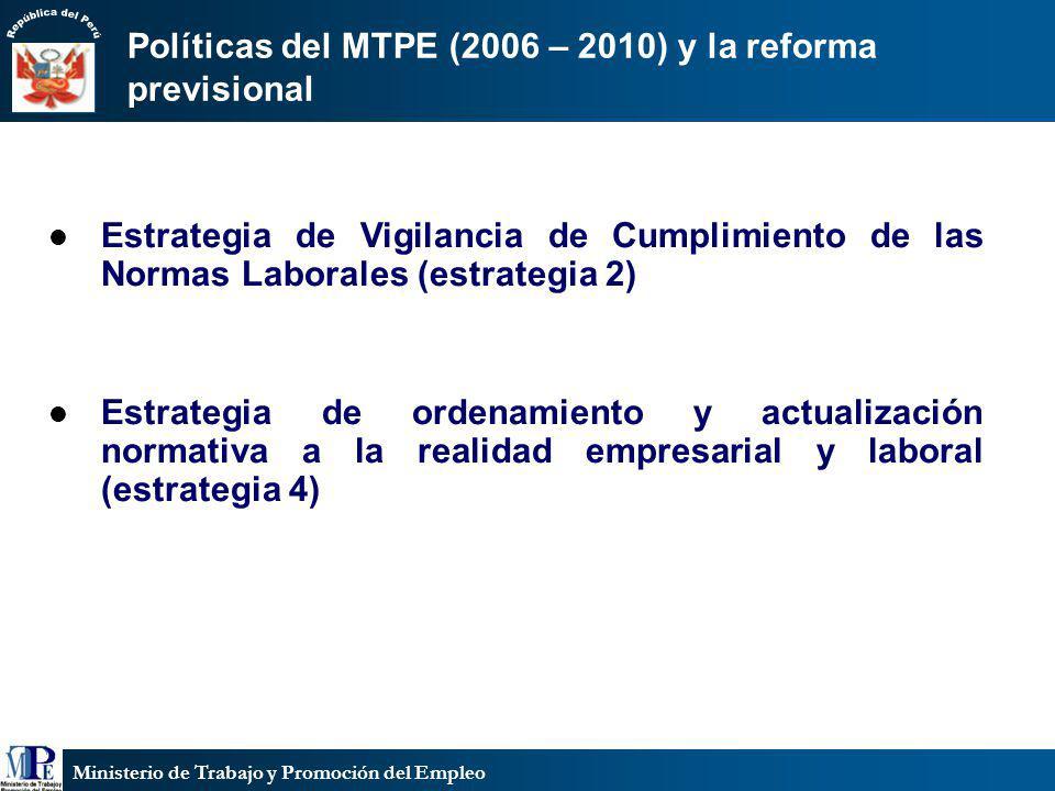 Ministerio de Trabajo y Promoción del Empleo Políticas del MTPE (2006 – 2010) y la reforma previsional Estrategia de Vigilancia de Cumplimiento de las