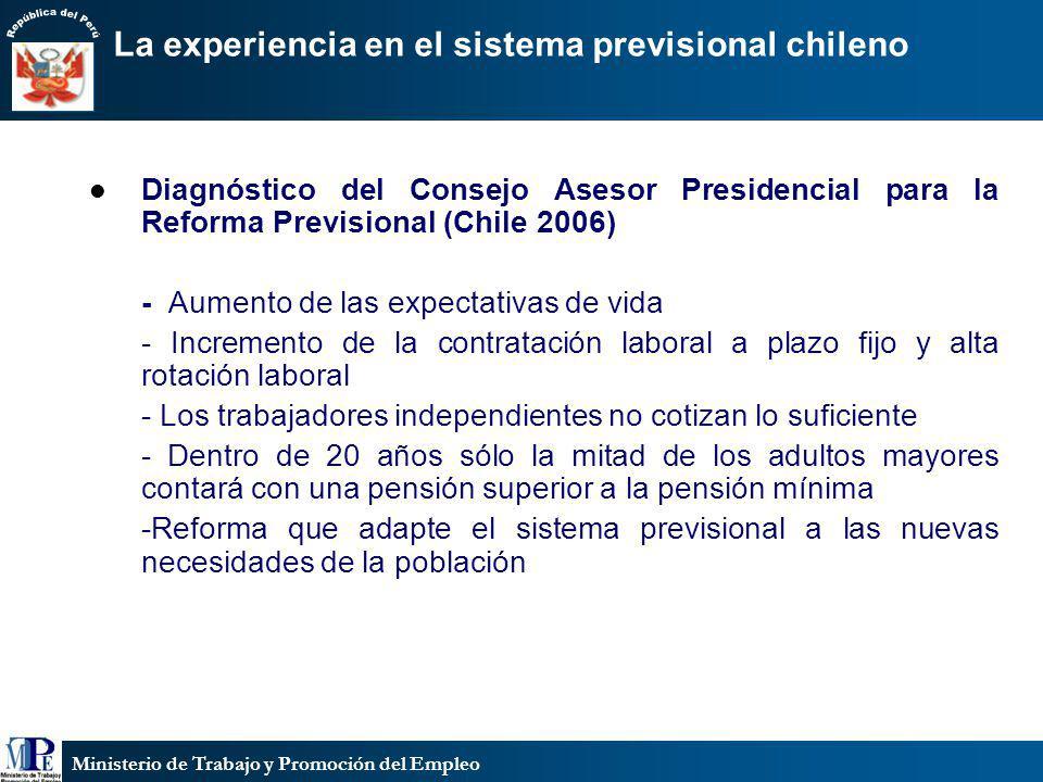 Ministerio de Trabajo y Promoción del Empleo La experiencia en el sistema previsional chileno Diagnóstico del Consejo Asesor Presidencial para la Refo