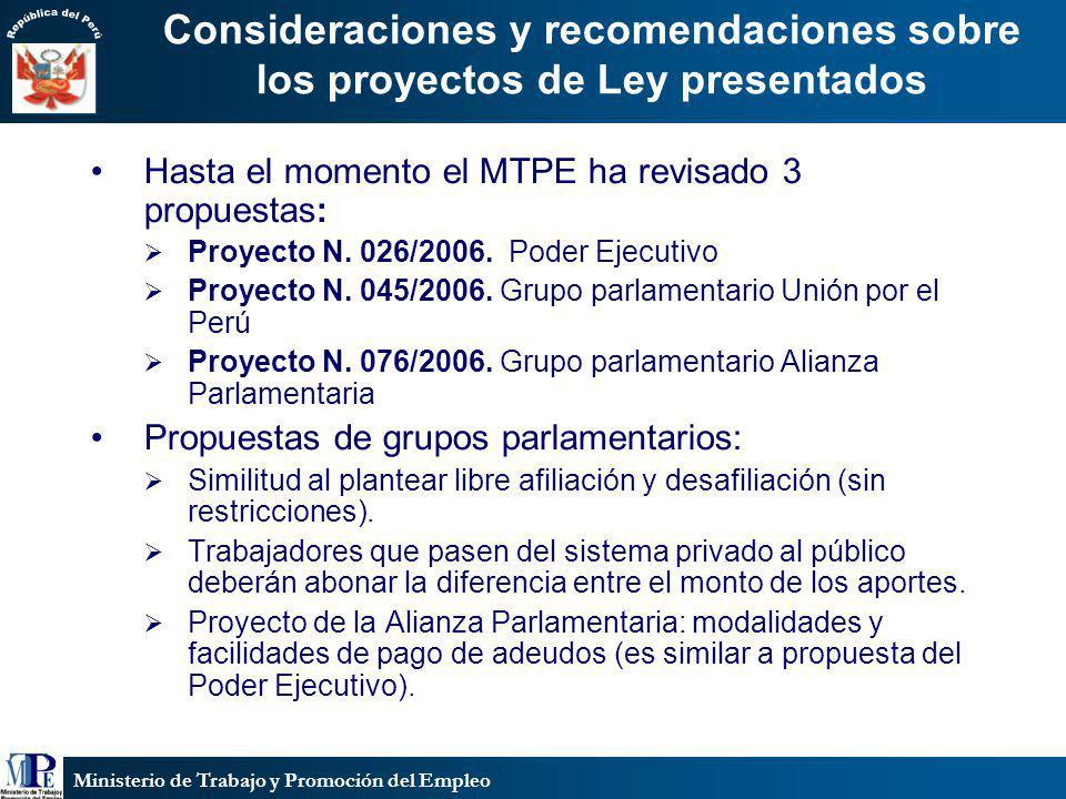 Ministerio de Trabajo y Promoción del Empleo Consideraciones y recomendaciones sobre los proyectos de Ley presentados Hasta el momento el MTPE ha revi