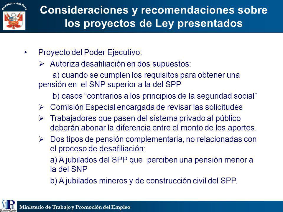Ministerio de Trabajo y Promoción del Empleo Proyecto del Poder Ejecutivo: Autoriza desafiliación en dos supuestos: a) cuando se cumplen los requisito
