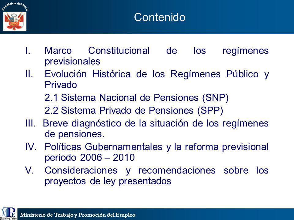 Ministerio de Trabajo y Promoción del Empleo Contenido I.Marco Constitucional de los regímenes previsionales II.Evolución Histórica de los Regímenes P