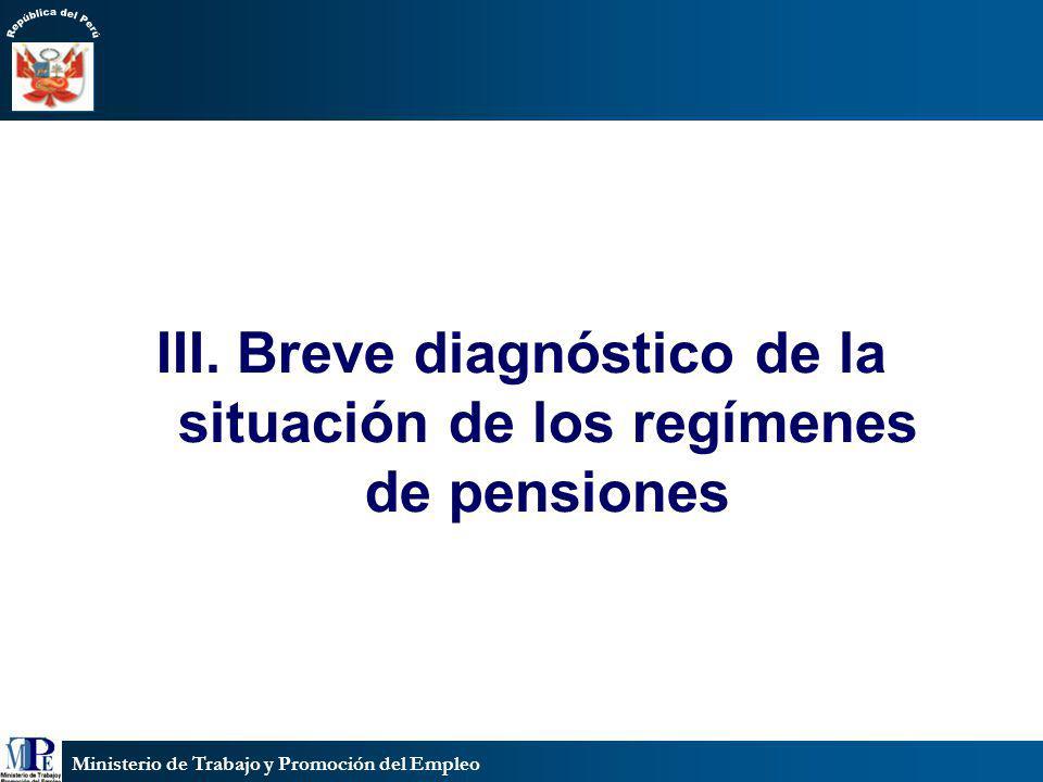 Ministerio de Trabajo y Promoción del Empleo III. Breve diagnóstico de la situación de los regímenes de pensiones