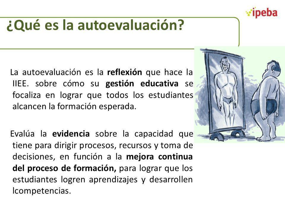 ¿Qué es la autoevaluación? La autoevaluación es la reflexión que hace la IIEE. sobre cómo su gestión educativa se focaliza en lograr que todos los est