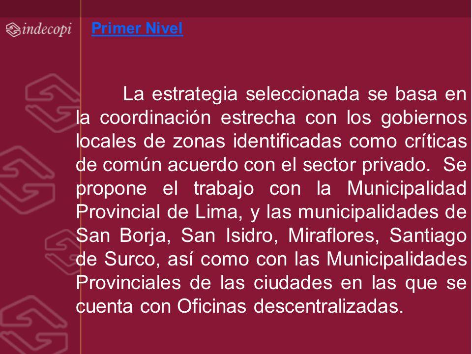 Primer Nivel La estrategia seleccionada se basa en la coordinación estrecha con los gobiernos locales de zonas identificadas como críticas de común ac