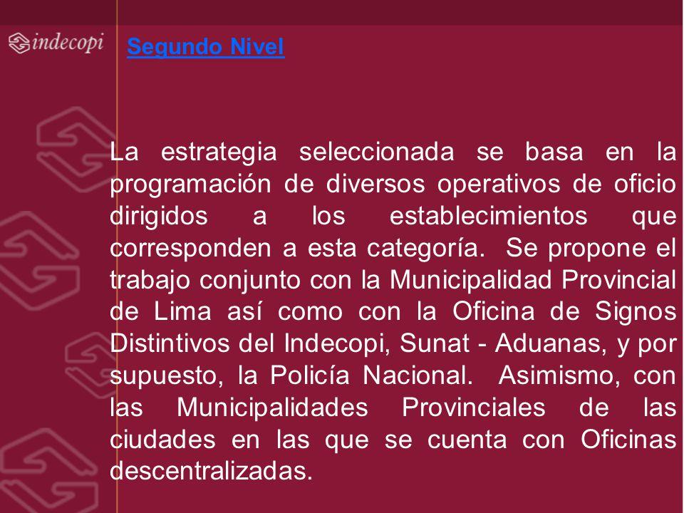 Segundo Nivel La estrategia seleccionada se basa en la programación de diversos operativos de oficio dirigidos a los establecimientos que corresponden