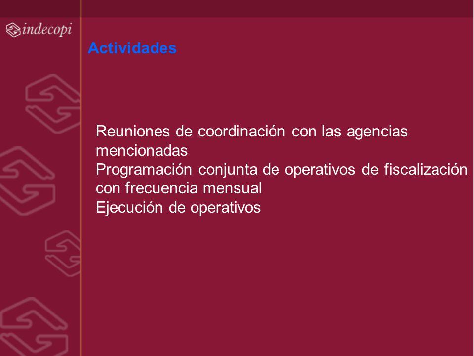 Actividades Reuniones de coordinación con las agencias mencionadas Programación conjunta de operativos de fiscalización con frecuencia mensual Ejecuci