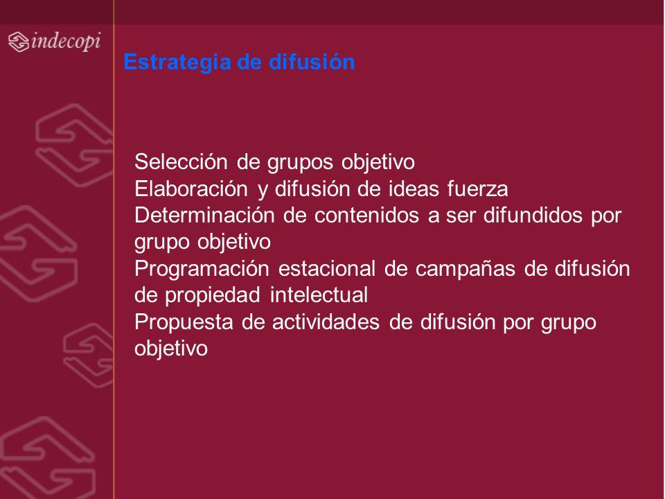 Estrategia de difusión Selección de grupos objetivo Elaboración y difusión de ideas fuerza Determinación de contenidos a ser difundidos por grupo obje