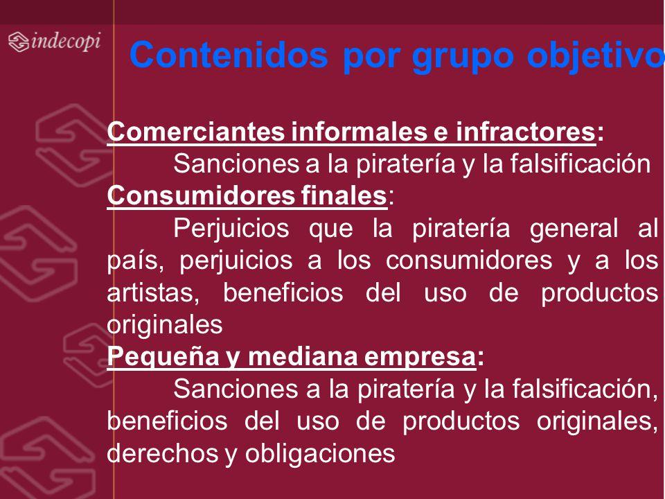 Contenidos por grupo objetivo Comerciantes informales e infractores: Sanciones a la piratería y la falsificación Consumidores finales: Perjuicios que
