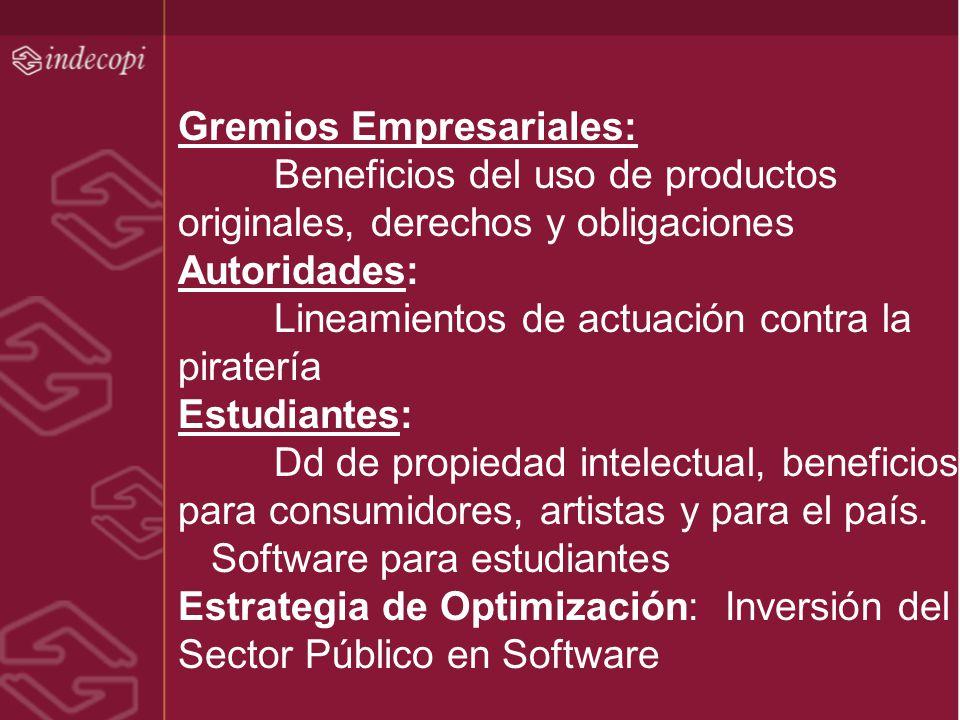 Gremios Empresariales: Beneficios del uso de productos originales, derechos y obligaciones Autoridades: Lineamientos de actuación contra la piratería
