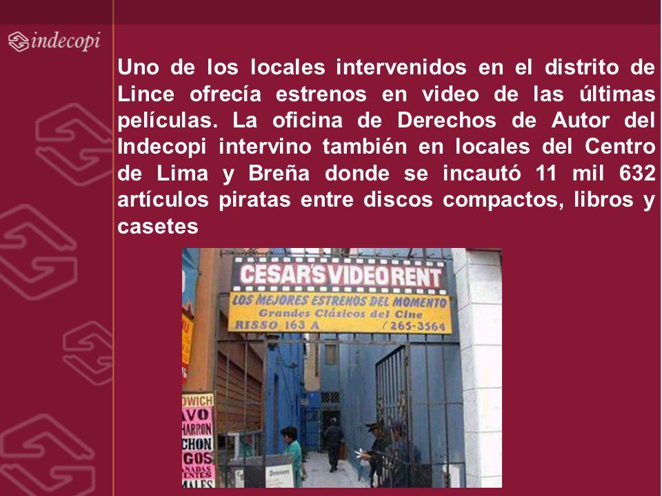 Uno de los locales intervenidos en el distrito de Lince ofrecía estrenos en video de las últimas películas. La oficina de Derechos de Autor del Indeco