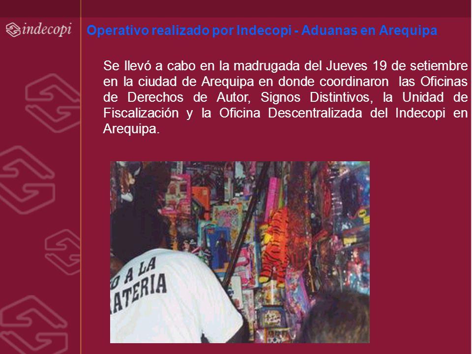 Operativo realizado por Indecopi - Aduanas en Arequipa Se llevó a cabo en la madrugada del Jueves 19 de setiembre en la ciudad de Arequipa en donde co