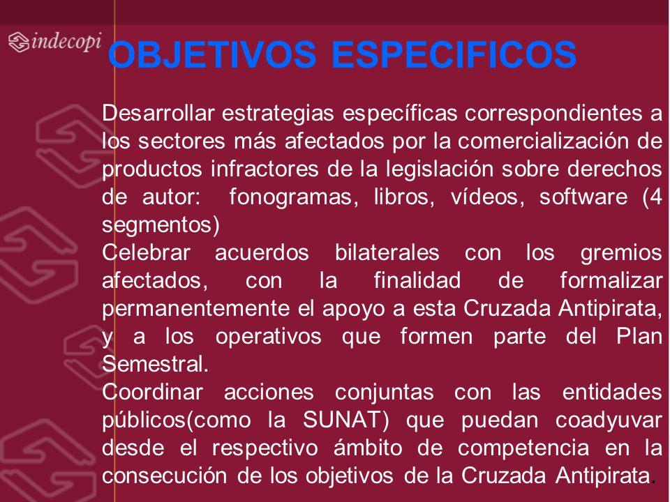 OBJETIVOS ESPECIFICOS Desarrollar estrategias específicas correspondientes a los sectores más afectados por la comercialización de productos infractor