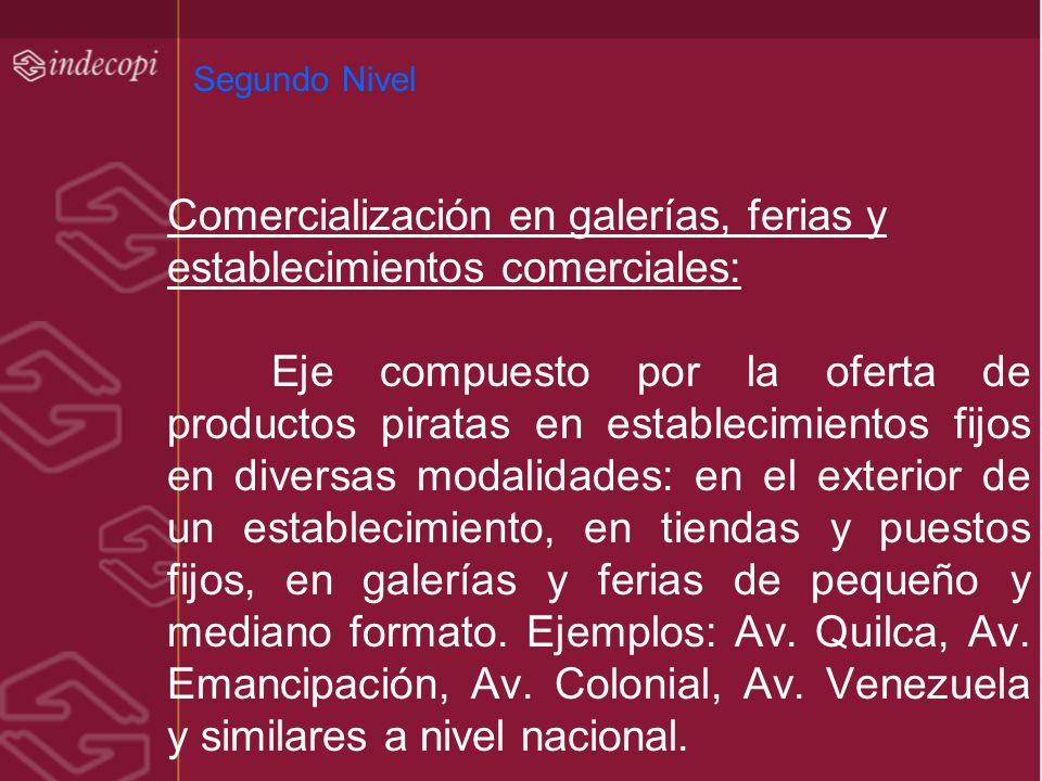 Segundo Nivel Comercialización en galerías, ferias y establecimientos comerciales: Eje compuesto por la oferta de productos piratas en establecimiento