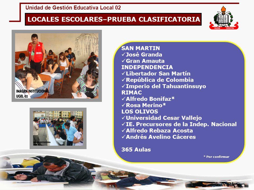 Unidad de Gestión Educativa Local 02 LOCALES ESCOLARES–PRUEBA CLASIFICATORIA SAN MARTIN José Granda Gran Amauta INDEPENDENCIA Libertador San Martín Re