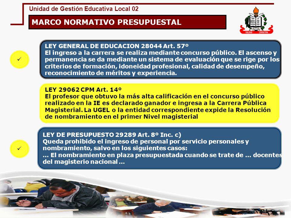 Unidad de Gestión Educativa Local 02 MARCO NORMATIVO PRESUPUESTAL Ley 29062 Carrera Pública Magisterial BASE LEGAL DU.