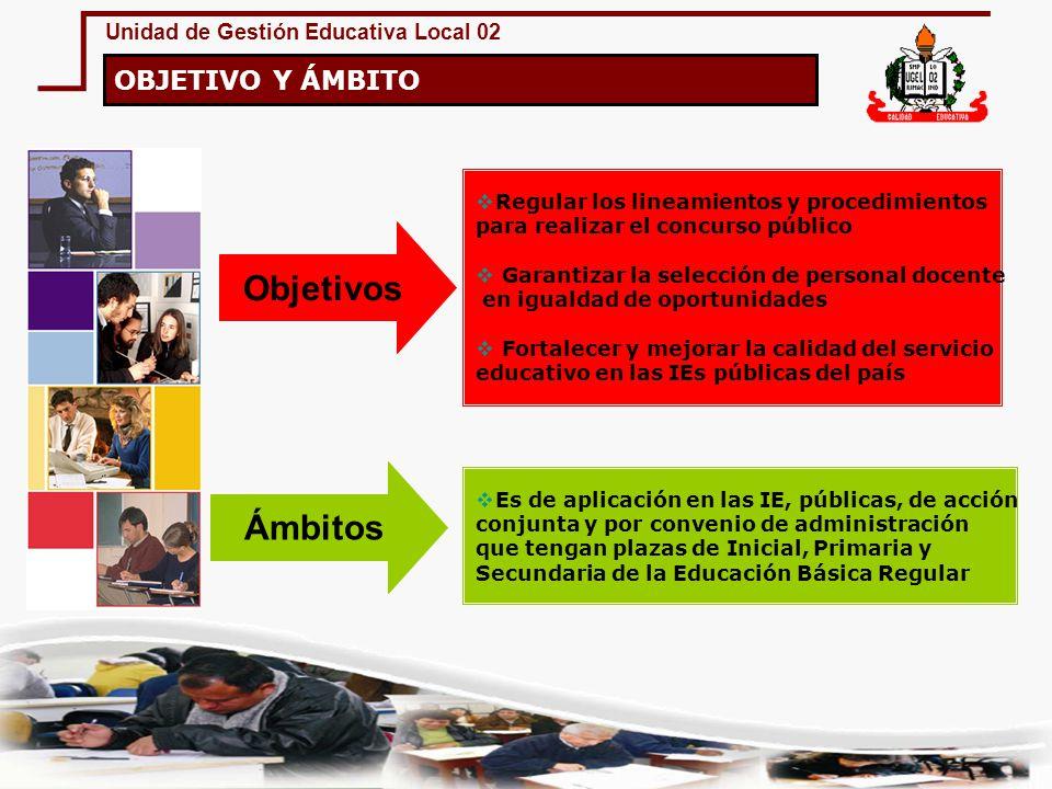 Unidad de Gestión Educativa Local 02 Regular los lineamientos y procedimientos para realizar el concurso público Garantizar la selección de personal d