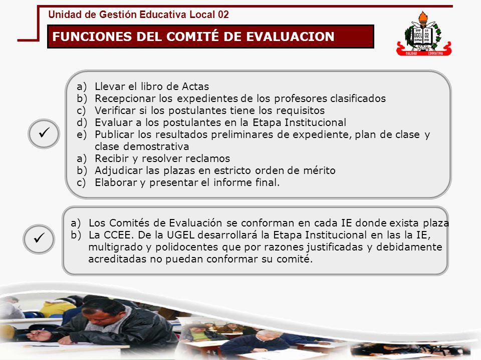 Unidad de Gestión Educativa Local 02 FUNCIONES DEL COMITÉ DE EVALUACION a)Llevar el libro de Actas b)Recepcionar los expedientes de los profesores cla