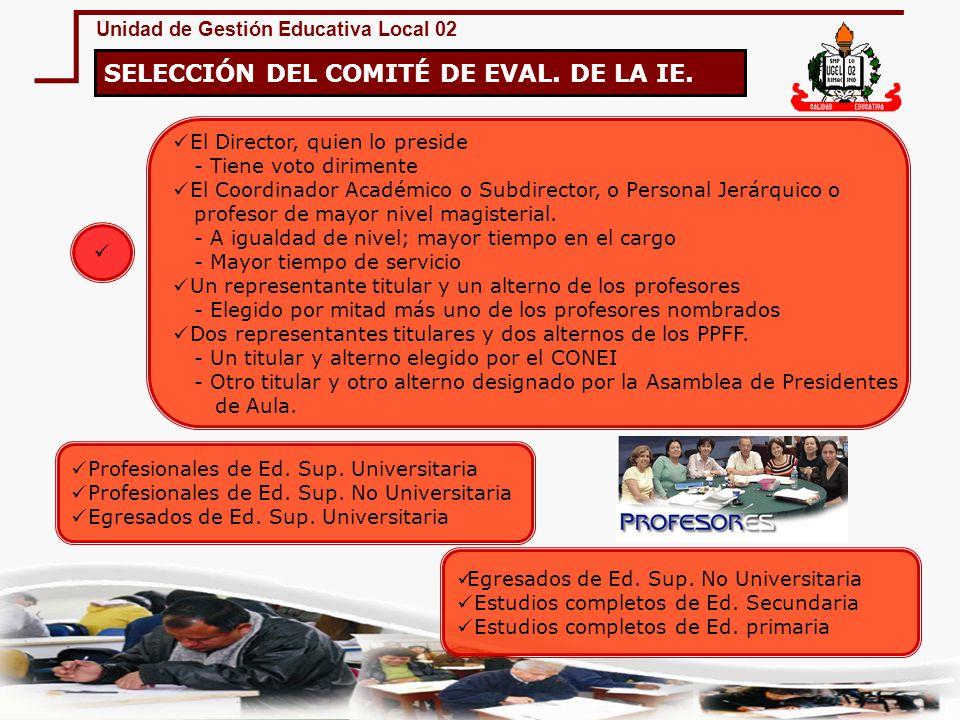 Unidad de Gestión Educativa Local 02 IMPEDIMENTO PARA SER MIEMBRO DEL CCEE.