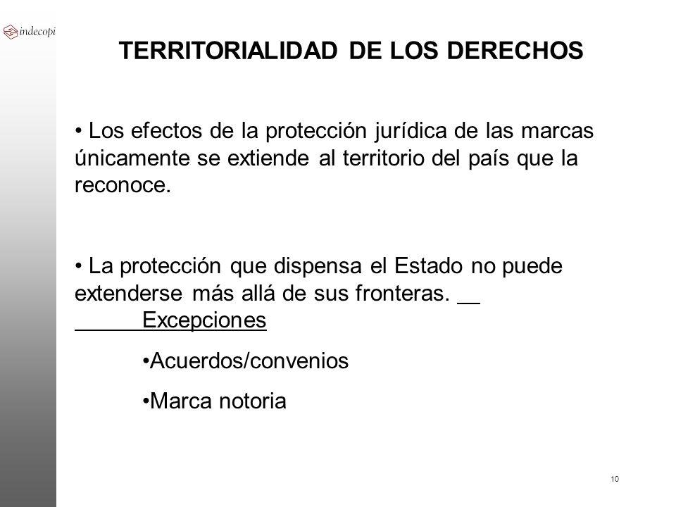 10 TERRITORIALIDAD DE LOS DERECHOS Los efectos de la protección jurídica de las marcas únicamente se extiende al territorio del país que la reconoce.