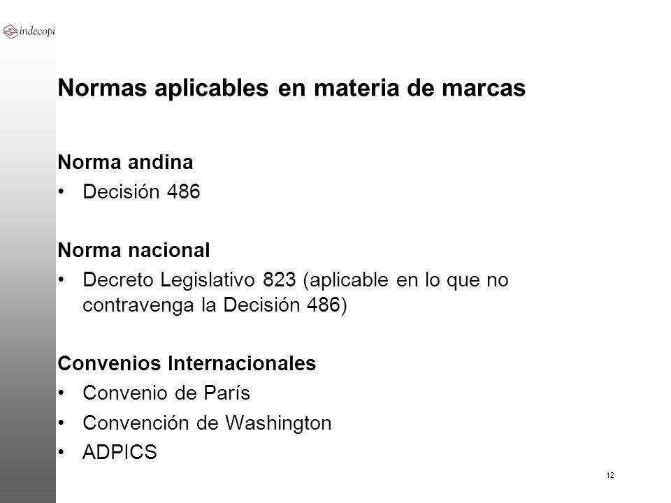12 Normas aplicables en materia de marcas Norma andina Decisión 486 Norma nacional Decreto Legislativo 823 (aplicable en lo que no contravenga la Deci