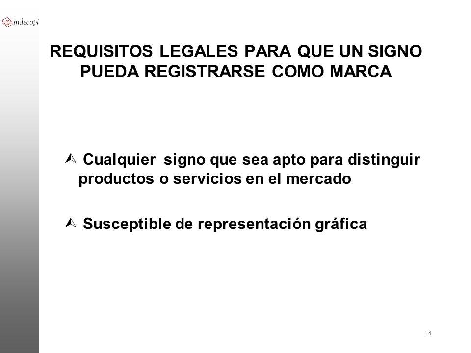 14 REQUISITOS LEGALES PARA QUE UN SIGNO PUEDA REGISTRARSE COMO MARCA Ù Cualquier signo que sea apto para distinguir productos o servicios en el mercad
