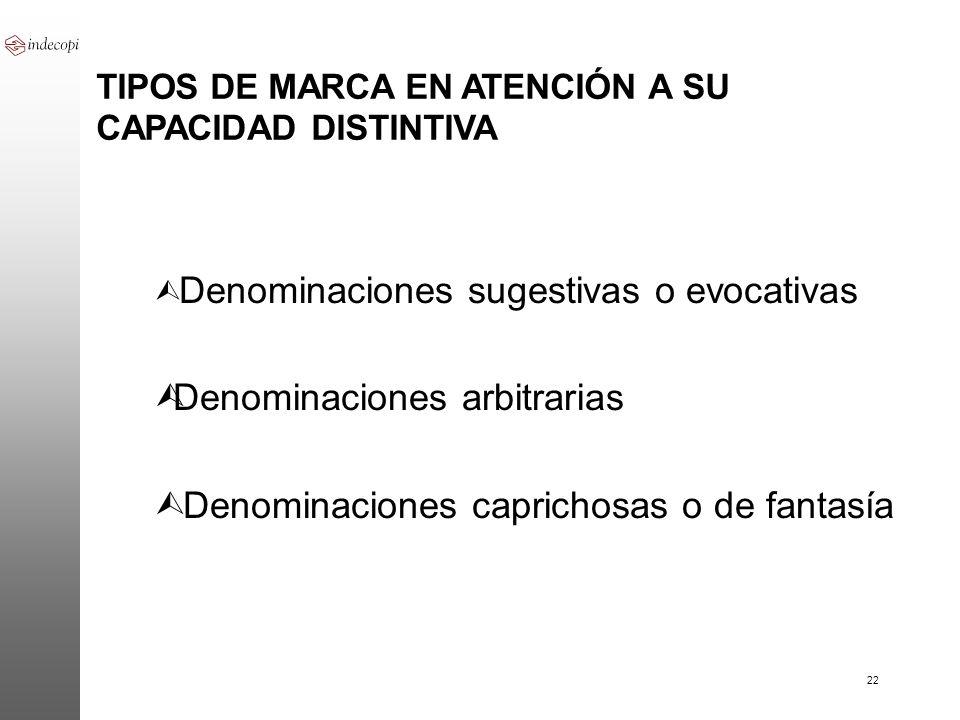22 TIPOS DE MARCA EN ATENCIÓN A SU CAPACIDAD DISTINTIVA Ù Denominaciones sugestivas o evocativas ÙDenominaciones arbitrarias Ù Denominaciones capricho