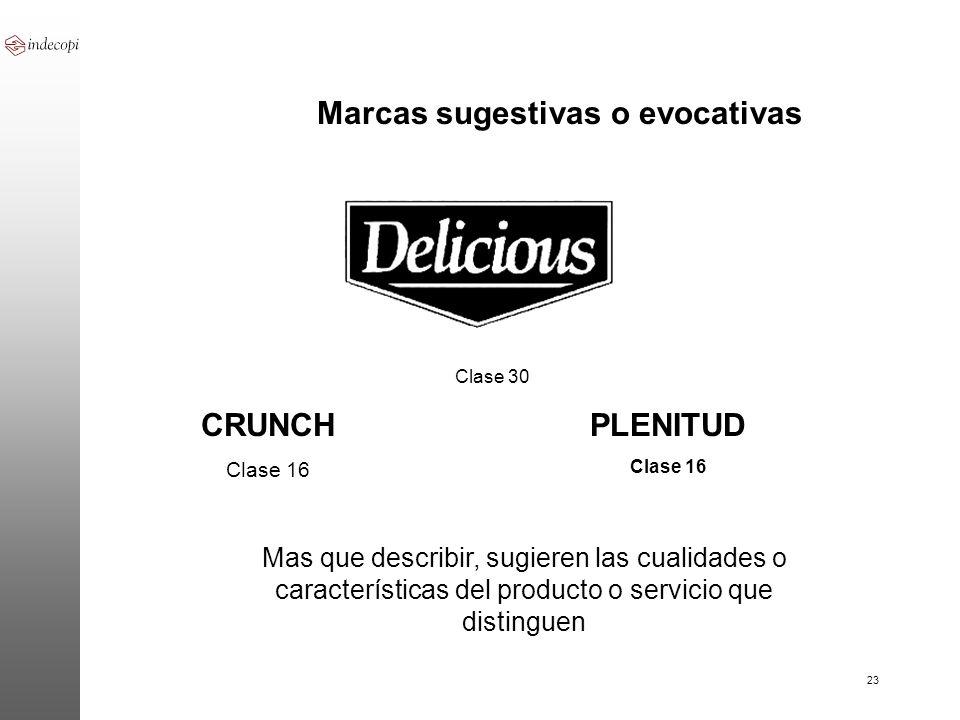 23 Clase 30 PLENITUD Clase 16 Marcas sugestivas o evocativas CRUNCH Clase 16 Mas que describir, sugieren las cualidades o características del producto
