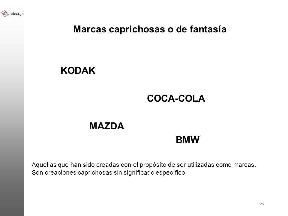 25 Marcas caprichosas o de fantasía KODAK COCA-COLA MAZDA BMW Aquellas que han sido creadas con el propósito de ser utilizadas como marcas. Son creaci