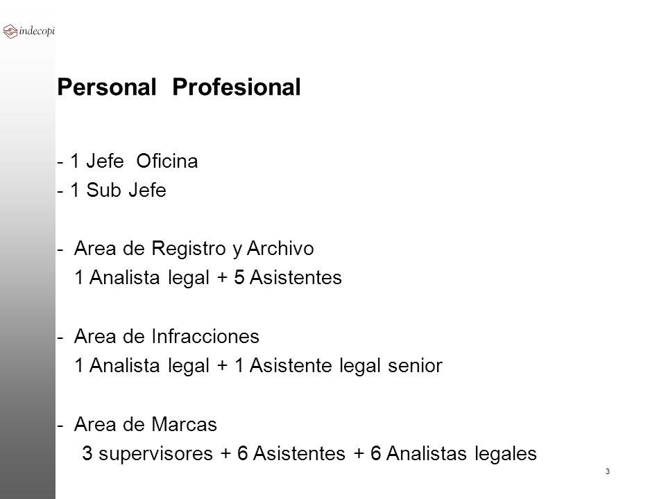3 Personal Profesional - 1 Jefe Oficina - 1 Sub Jefe - Area de Registro y Archivo 1 Analista legal + 5 Asistentes - Area de Infracciones 1 Analista le