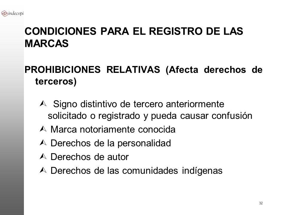 32 CONDICIONES PARA EL REGISTRO DE LAS MARCAS PROHIBICIONES RELATIVAS (Afecta derechos de terceros) Ù Signo distintivo de tercero anteriormente solici