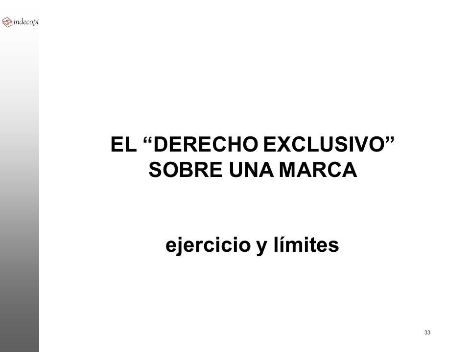 33 EL DERECHO EXCLUSIVO SOBRE UNA MARCA ejercicio y límites