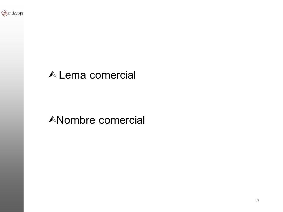 39 Ù Lema comercial Ù Nombre comercial