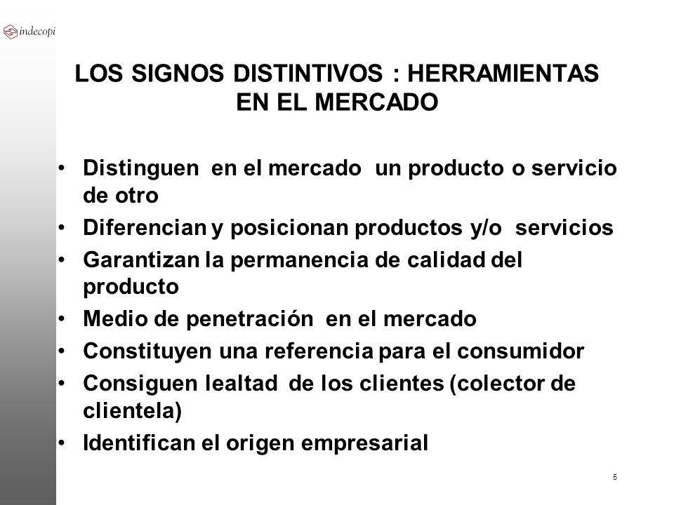 5 LOS SIGNOS DISTINTIVOS : HERRAMIENTAS EN EL MERCADO Distinguen en el mercado un producto o servicio de otro Diferencian y posicionan productos y/o s
