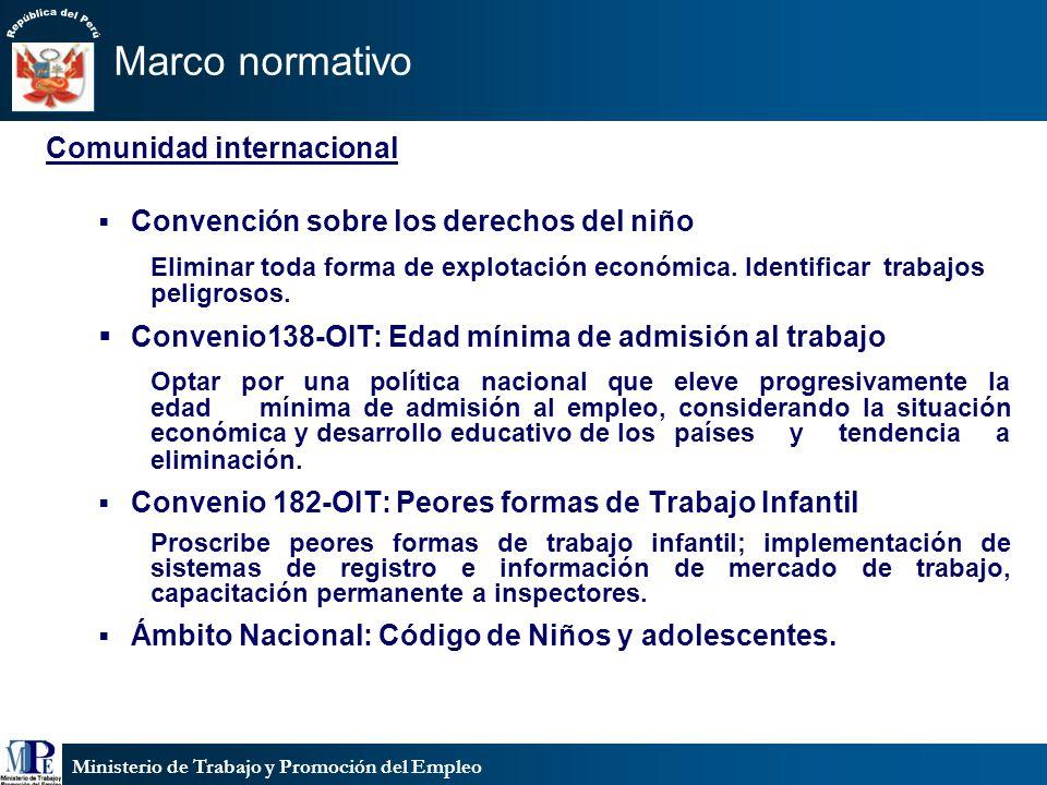 Ministerio de Trabajo y Promoción del Empleo Comunidad internacional Convención sobre los derechos del niño Eliminar toda forma de explotación económica.