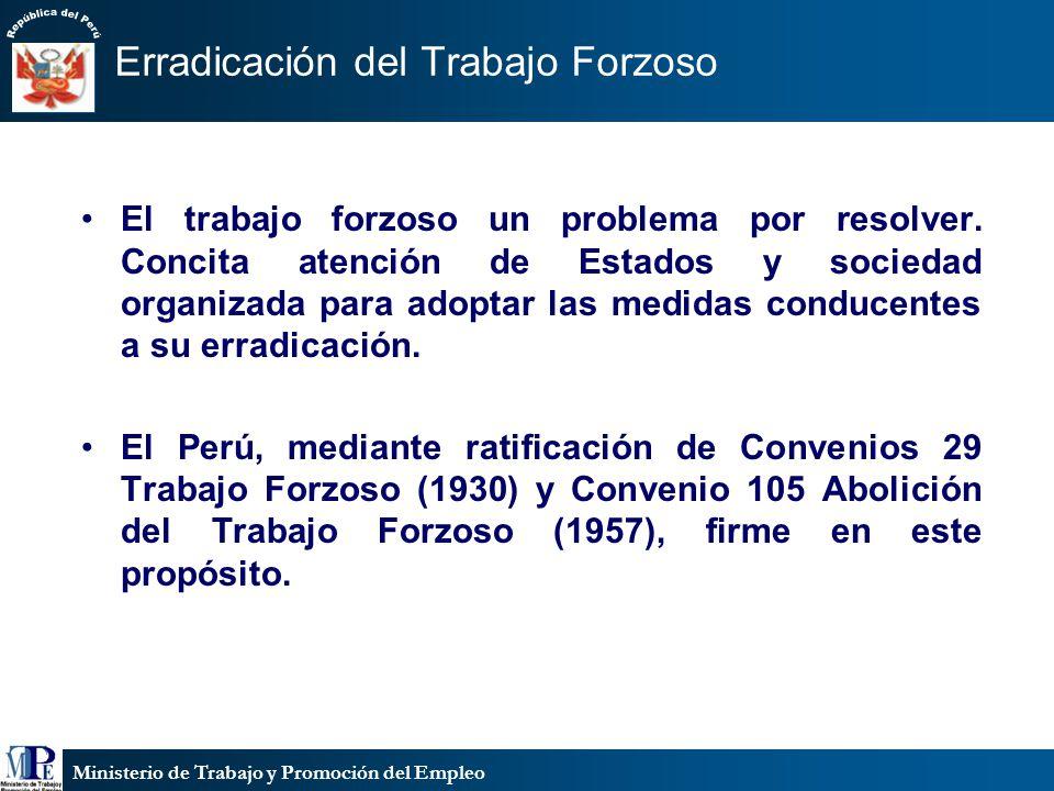 Ministerio de Trabajo y Promoción del Empleo Erradicación del Trabajo Forzoso El trabajo forzoso un problema por resolver.