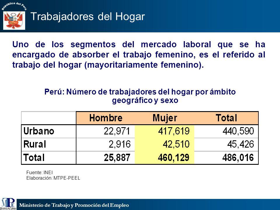Ministerio de Trabajo y Promoción del Empleo Trabajadores del Hogar Perú: Número de trabajadores del hogar por ámbito geográfico y sexo Fuente: INEI Elaboración: MTPE-PEEL Uno de los segmentos del mercado laboral que se ha encargado de absorber el trabajo femenino, es el referido al trabajo del hogar (mayoritariamente femenino).