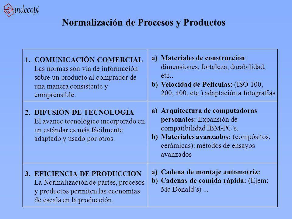 1.COMUNICACIÓN COMERCIAL Las normas son vía de información sobre un producto al comprador de una manera consistente y comprensible. 2.DIFUSIÓN DE TECN