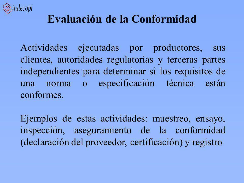 Evaluación de la Conformidad Actividades ejecutadas por productores, sus clientes, autoridades regulatorias y terceras partes independientes para dete