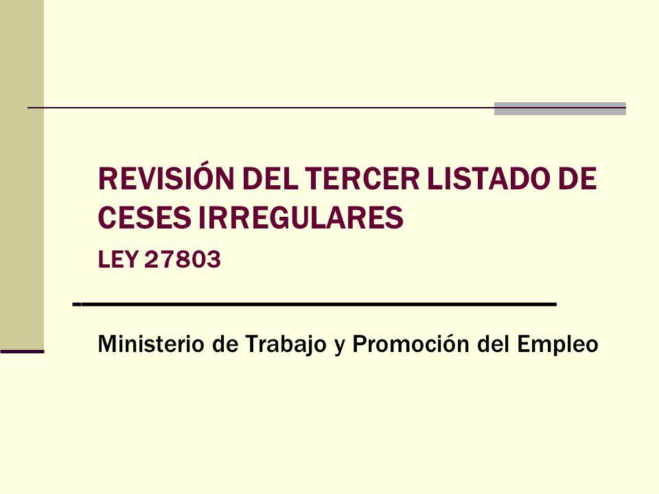 REVISIÓN DEL TERCER LISTADO DE CESES IRREGULARES LEY 27803 ------------------------------------------------------------- Ministerio de Trabajo y Promo