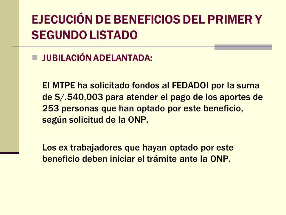 JUBILACIÓN ADELANTADA: El MTPE ha solicitado fondos al FEDADOI por la suma de S/.540,003 para atender el pago de los aportes de 253 personas que han o