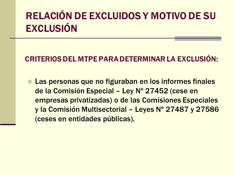 CRITERIOS DEL MTPE PARA DETERMINAR LA EXCLUSIÓN: Las personas que no figuraban en los informes finales de la Comisión Especial – Ley Nº 27452 (cese en