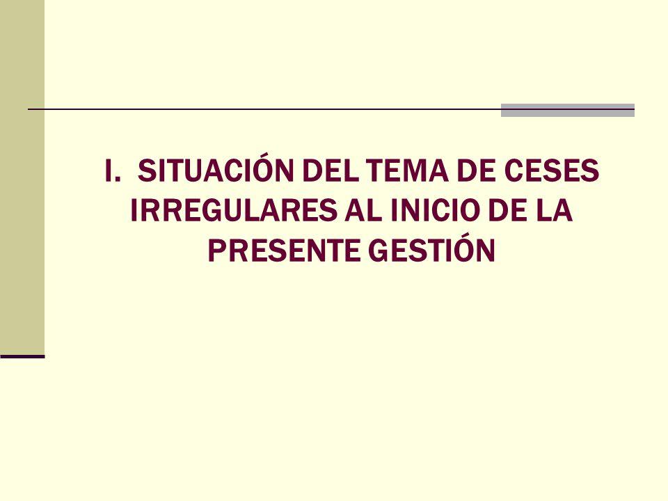 I. SITUACIÓN DEL TEMA DE CESES IRREGULARES AL INICIO DE LA PRESENTE GESTIÓN