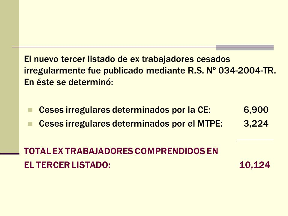 El nuevo tercer listado de ex trabajadores cesados irregularmente fue publicado mediante R.S. Nº 034-2004-TR. En éste se determinó: Ceses irregulares