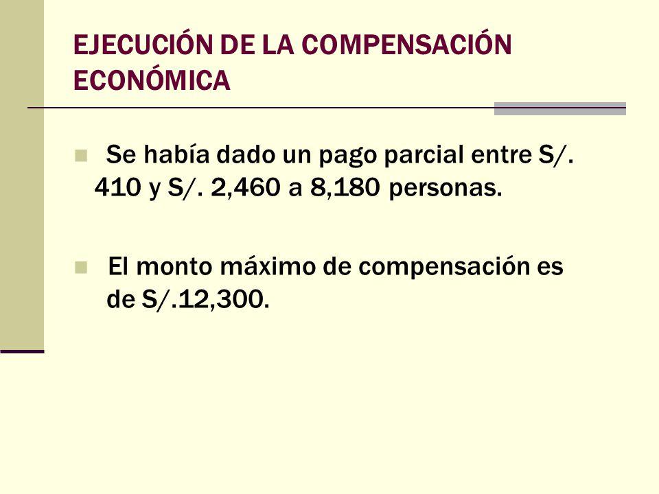 EJECUCIÓN DE LA COMPENSACIÓN ECONÓMICA Se había dado un pago parcial entre S/. 410 y S/. 2,460 a 8,180 personas. El monto máximo de compensación es de