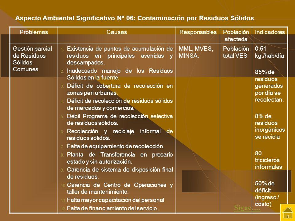 ProblemasCausasResponsablesPoblación afectada Indicadores Gestión parcial de Residuos Sólidos Comunes 1. Existencia de puntos de acumulación de residu