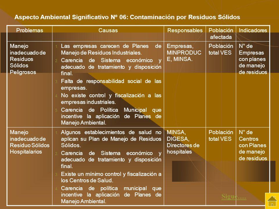 ProblemasCausasResponsablesPoblación afectada Indicadores Manejo inadecuado de Residuos Sólidos Peligrosos 1. Las empresas carecen de Planes de Manejo