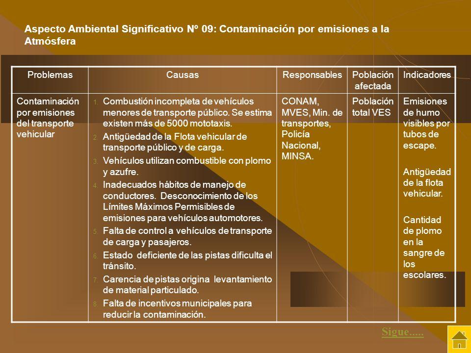 ProblemasCausasResponsablesPoblación afectada Indicadores Contaminación por emisiones del transporte vehicular 1. Combustión incompleta de vehículos m